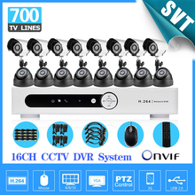 TEATE Mobile remotely 700TVL outdoor indoor night vision CCTV video camera system home security surveillance 16ch DVR kit SK-205