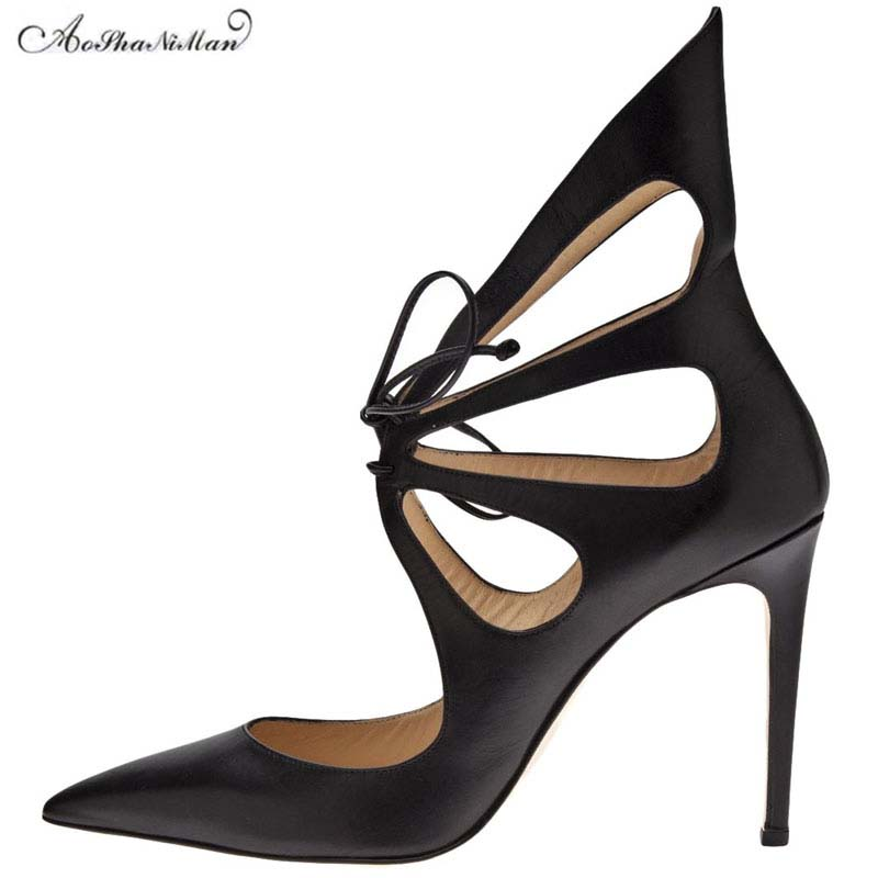 2018 fashion brand design high heels women thin heel pointed toe pumps stilettos woman real leather party shoes Cross tied pump plus size 34 46 fashion high heels shoes women pumps square heel pointed toe dress pumps shallow party stilettos ladies footwear