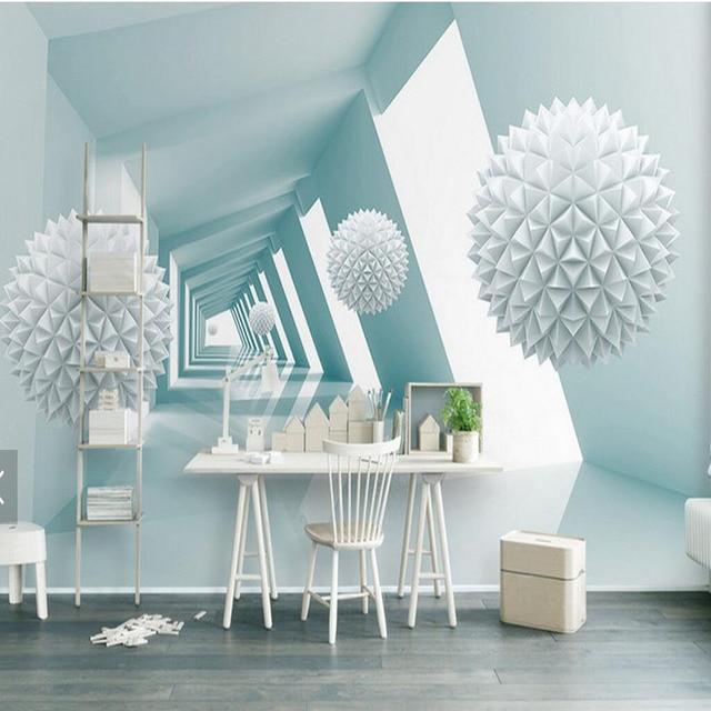 3d Abstrakte Tapete Blau Ball Bau Wandbild Fur Wohnzimmer