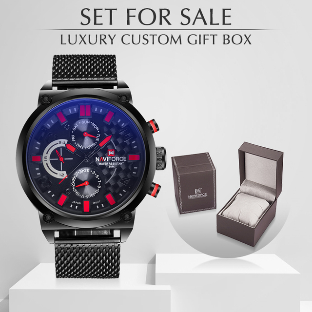Luxury Naviforce Brand Mens Steel Analog Watches Men's Quartz Clock With box Set For Sale Man Fashion Casual Sports Wirst Watch