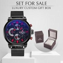 Naviforce montres de marque de luxe, montres analogiques en acier, à Quartz, avec boîte, pour hommes, vente, mode, décontracté