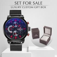 Naviforce relojes analógicos de acero para hombre, reloj de cuarzo con caja, deportivo, informal