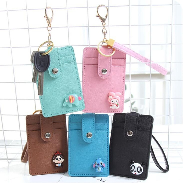 cartoon hello kitty pu leather card id holders bag women travel bank bus credit card holder - Card Holder With Keyring
