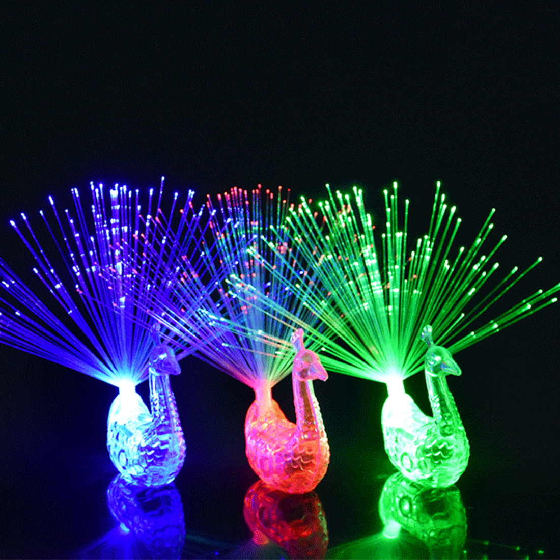 Night Party Supplies Peacock Finger Light Colorful LED Light-up Rings Kids Children Toys Night Vocal Concert Gadgets Decoration