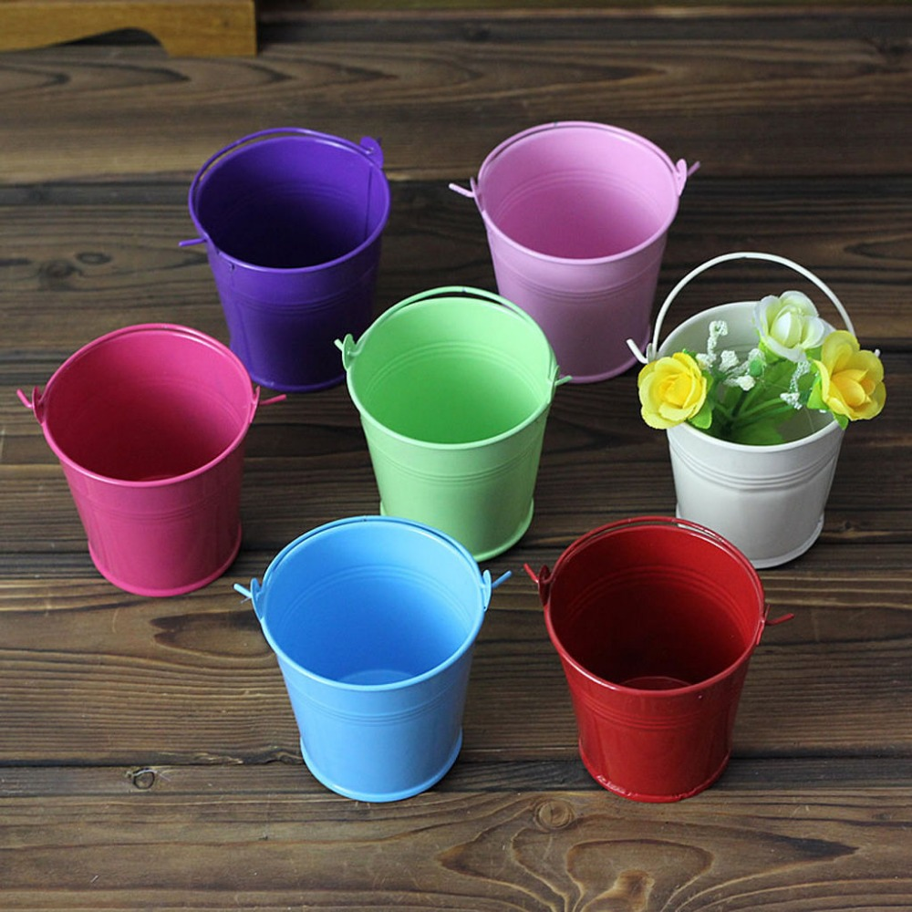 New 5x Mini Small Assorted Colored Tin Pails Buckets Wedding Party Potted Plants ...