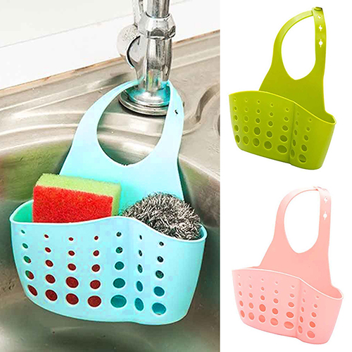 Sink Sponge Holder 2 Bags Holes Tap Hanging Strainer Organizer Storage Rack