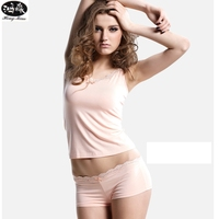 Fashion Sexy Pyjamas Women Lace Suspenders Boxer Underwear Pajamas For Women Modal Fabric Indoor Clothing Lingerie