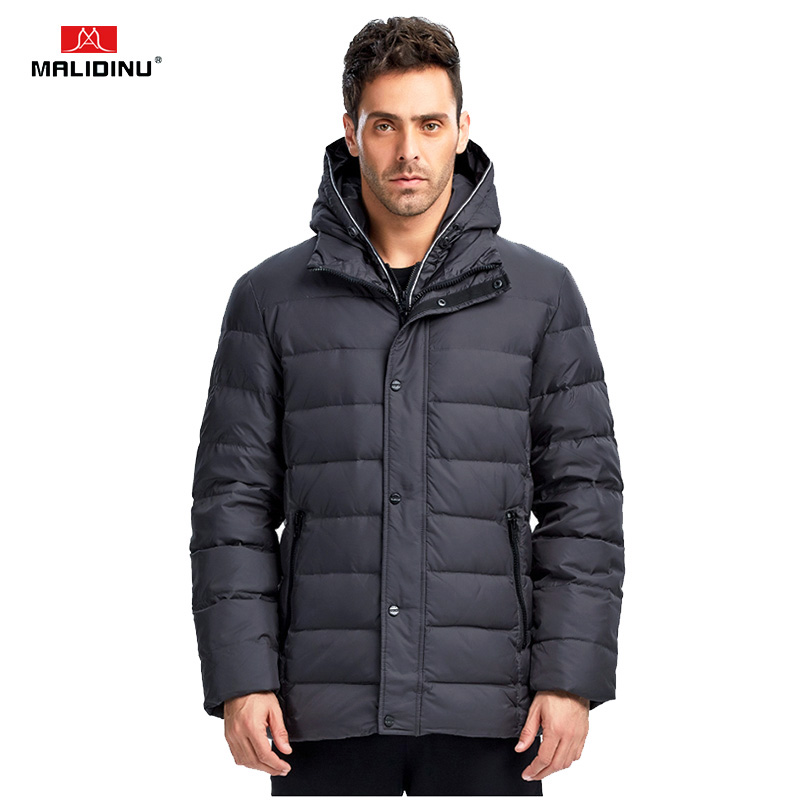 MALIDINU 2019   Down     Coat   Men Winter   Down   Jacket Brand Thick Warm Winter   Coat   Duck   Down   Jacket Hooded Plus Size Russian Style -30C