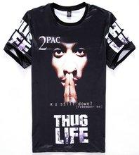 2017 [Mikeal] America Hip hop t-shirt males's 3d tshirt print Tupac 2pac THUG LIFE t shirt informal tops Young tees H11