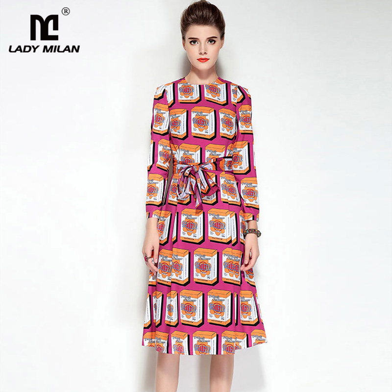 New Arrival Womens O Neck Long Sleeves Printed Sash Belt High Street Fashion Mid Calf Dresses