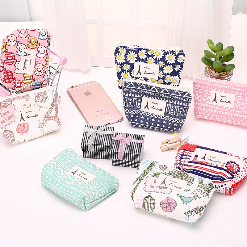 linen cloth small fresh floral coin purse girls vintage small wallet women retro eiffel coins bag headset pouch