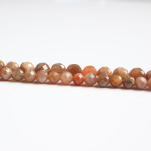 LanLi  natural jewelry 6/8mm faceted sunstone Orange moon Beads DIY men and women Bracelet Necklace  anklet Accessories