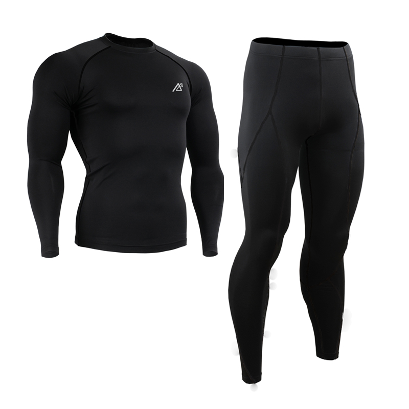 Mens Compression Base Layer Sports Suit Running Dir-fit Long Sleeve Pants Tops