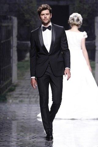 2018 Custom Black Suit Men Groom Wedding Suits for Men Jacket Slim ...