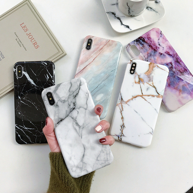 Marble Case on For iphone 7 XS MAX Case Soft TPU Back Cover For iphone 6 6S 7 8 Plus iphone X XR Case Cover Phone Case