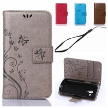 Leather Flip Phone Case for Samsung Galaxy S Duos S7562 Trend Plus S7580 S7582 Vintage 3D Embosse Butterfly Wallet Stand Cover