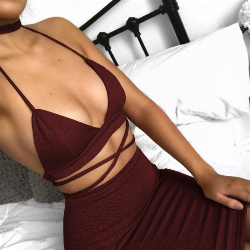 Women Sleeveless Spaghetti Strap Bandage Evening Party Mini Dress Summer Club Wear Package Hip Backless V Neck Dress in Dresses from Women 39 s Clothing
