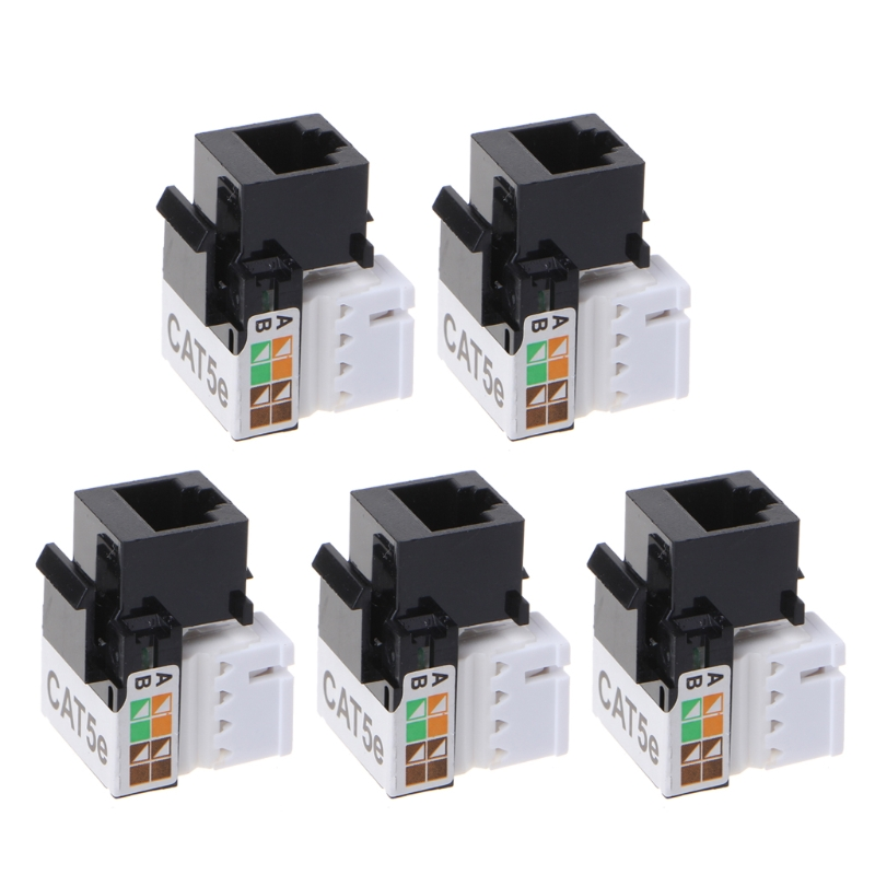5Pcs CAT5E UTP Network Module RJ45 Connector Information Socket Keystone Jack
