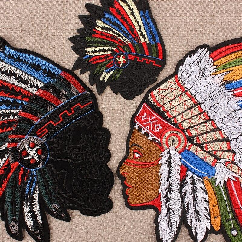 Sac autocollant en tissu pour vêtements   Bricolage, patchs de Style Punk indien, tissu de broderie pour tête, accessoires de couture