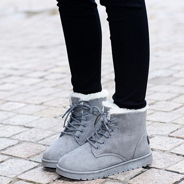 2018 New 8 Colors Ankle Boots For Women Solid Flat Casual Women Snow Boots Lace-up Warm Cotton Shoes Girls Winter Boots DST903