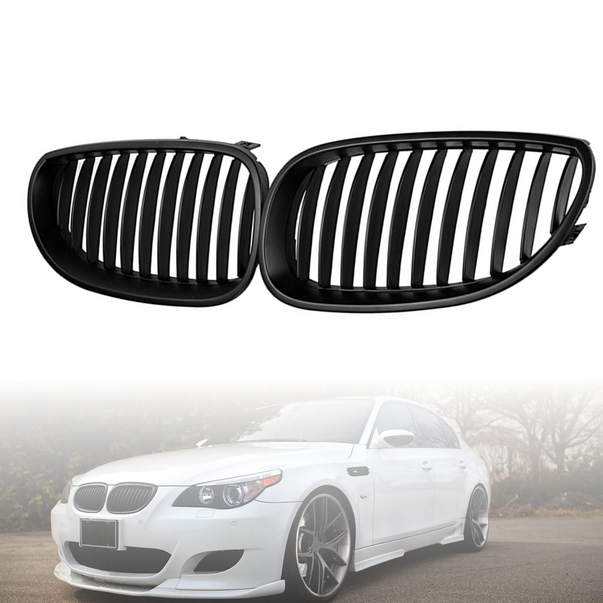 2pcs Front Black Sport Wide Kidney Grille Grill For BMW E60 E61 5 Series M5 2003-2009 e60 abs front kidney grille grill for bmw 5 series e60 2004 2009 sedan e61 hatchback 1 slat 2 slat 535i 545i