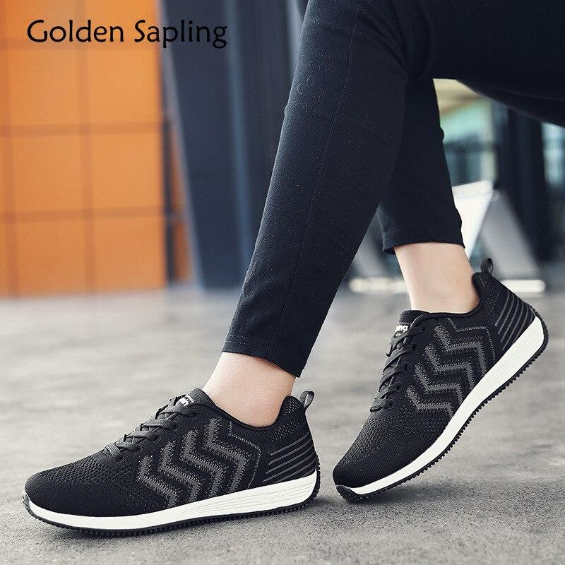 Golden Sapling Womens Sport Shoes Woman Sneakers Breathable Air Mesh Rubber Women Badminton Shoes Black Sports Womens Sneakers
