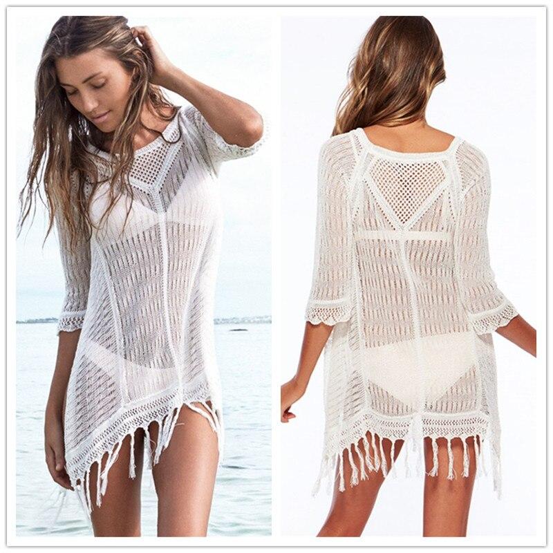 Отпуск вяжет бикини сокрытия Для женщин Трикотаж Пуловеры пляжное платье с вырезами в бо ...