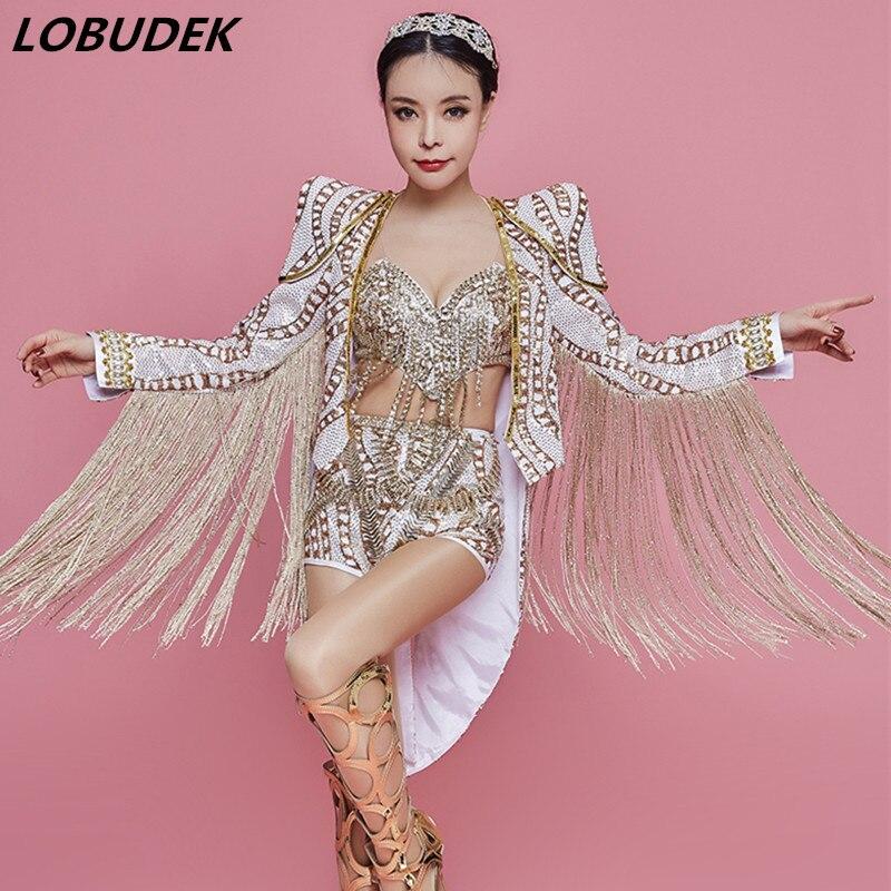 Discothèque femmes leader danseuse Costume Bar chanteur étoile Concert Performance vêtements brillant strass Bikini glands ensembles de manteau