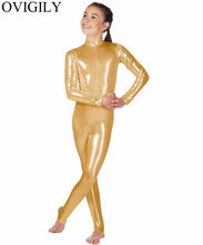 OVIGILY Kids Gold Metallic Mock Hals Dans Unitard Meisjes Shiny Stretchy Lange Mouwen Unitards Voor Gymnastiek Body Catsuits(China)
