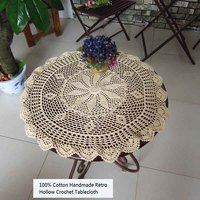Simple Style 100% Cotton Handmade Tablecloth Crocheted Floral Hollow Washable Wear Resistant Round Table Covers for Dining Table