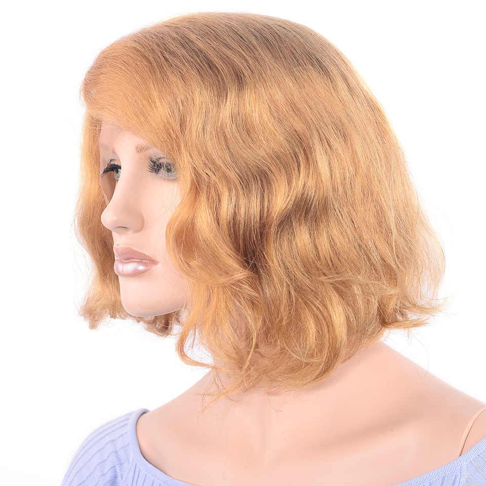 LADYSTAR remy волосы короткий парик-Боб блонд цвет кружева спереди человеческие волосы парики правая часть кудрявые 150% плотность для женщин 12 дюймов