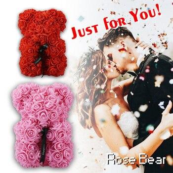 מכירה לוהטת אדום עלה דוב 23 cm מלאכותי סבון ורדים חתונה עיצוב הבית מתנה ליום האהבה אהבת דוב מתנה עם אריזת מתנה
