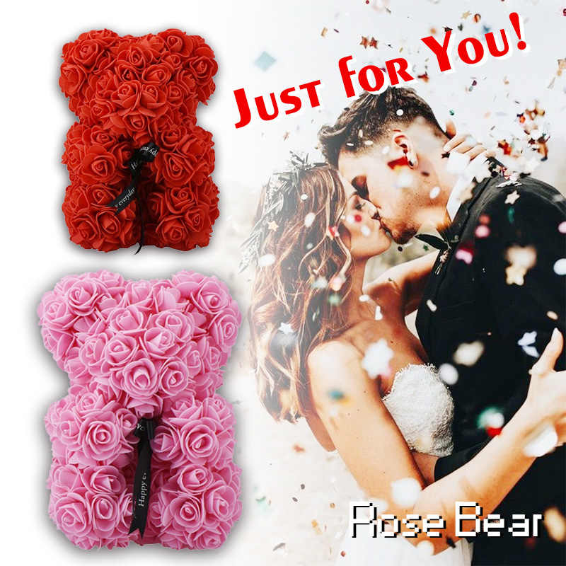 1f12faa291 Hot Sale Red Rose Bear 23cm Artificial Soap Roses Wedding Home Decoration  Gift For Valentine s Day
