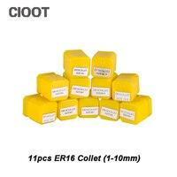 ER16 комплект весна цанговый Зажимы зажима 11 шт. от 1 мм-10 мм ER16 Весна Зажимы цанга Для ER16 цанговый Зажимы A010B