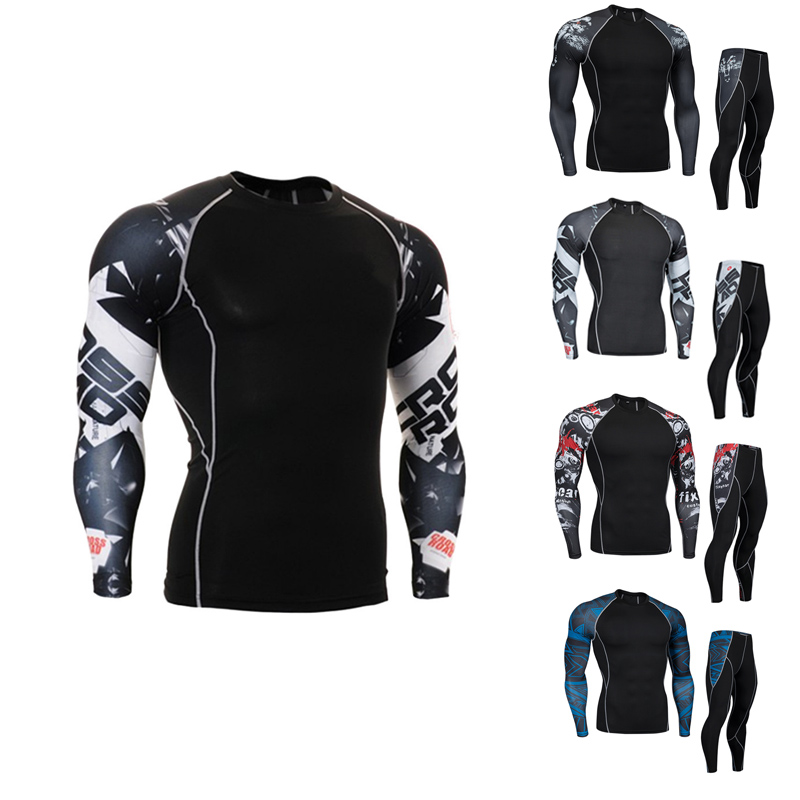 Mens compression suit Quick-drying tights Mens tracksuits branded MMA clothing crossfit T-shirt Compression Men leggings 4XL