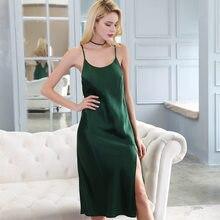 4060ab08a Novo Estilo Genuíno Mulheres Camisolas de Seda Primavera Verão Silkworn  Estilingue Seda Camisola de Dormir Vestido