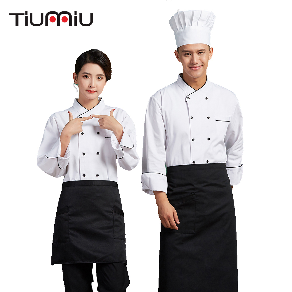 2018 New Arrival Men Long Sleeve Double Breasted Chef Uniform Kitchen Workwear Tops Restaurant Hotel Cafe Waiter Jacket Overalls