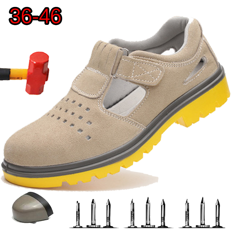 2019 Men's Safety Shoes And Hat Steel Head Safety Shoes Smash-Proof Stab-Resistant Breathable Leather Soft Work Boots