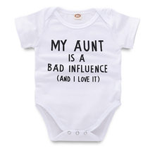 db8f43a00974 2019 Baby Bodysuit My Aunt Letter Print White Onesie Short Sleeve Tiny  Cottons One Piece Auntie Baby Clothes 6-18 Months