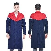 Męski niebieski sklep płaszcz z taśmy odblaskowe fartuch laboratoryjny odzież robocza mężczyźni odzież robocza kurtka mundurowa