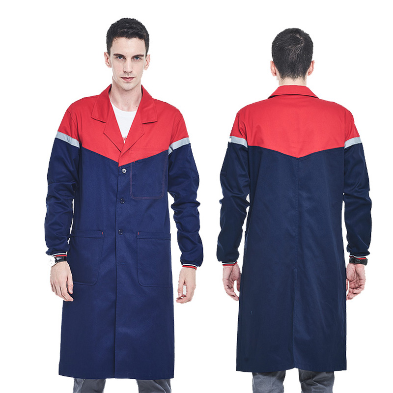 Men's Blue Shop Coat With Reflective Tapes Lab Coat Work Clothes Men Workwear Uniform Jacket
