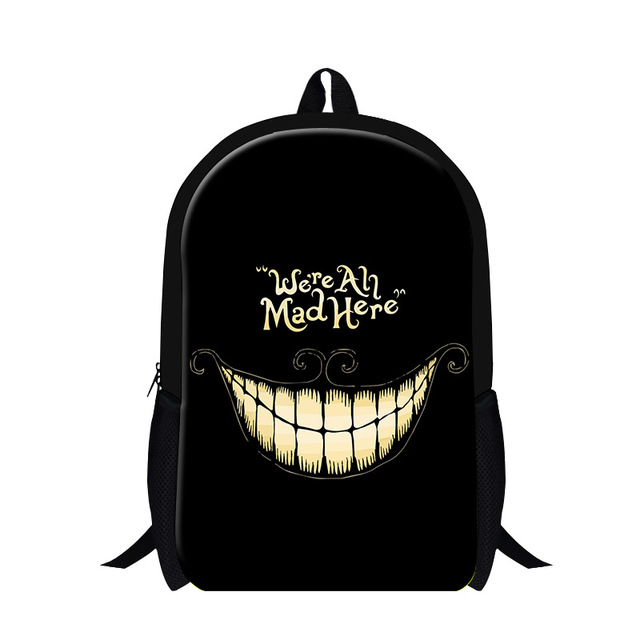 Cool We are All Mad Here Backpacks For Teenager 3D Skull Print ...