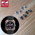 4 peças/set 3.9mm matte Black PVD/prateado BR assistir bisel parafuso para sino ross BR01 46mm relógio caso molduras insere parafuso peças