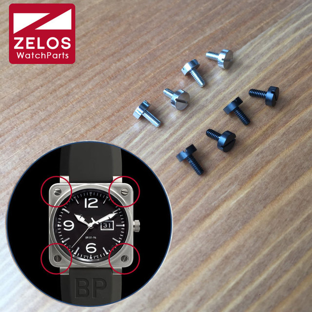 4piece/set 3.9mm Black matte PVD/silvery BR watch bezel screw for bell ross BR01  46mm watch case bezels inserts screw parts