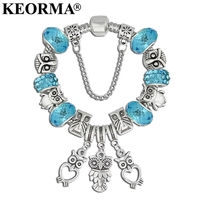 KEORMA Animal Owl Charm Bracelets & Bangles for Women Silver Color Green Crystal Beads Bracelets Jewelry Pulsera Girls Gifts