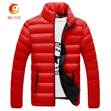 New Mens Winter Jackets Keep Warm Thicker Fashion Solid Color Coat Casual Stand Collar High Quality Cotton Parkas Jacket Size2XL