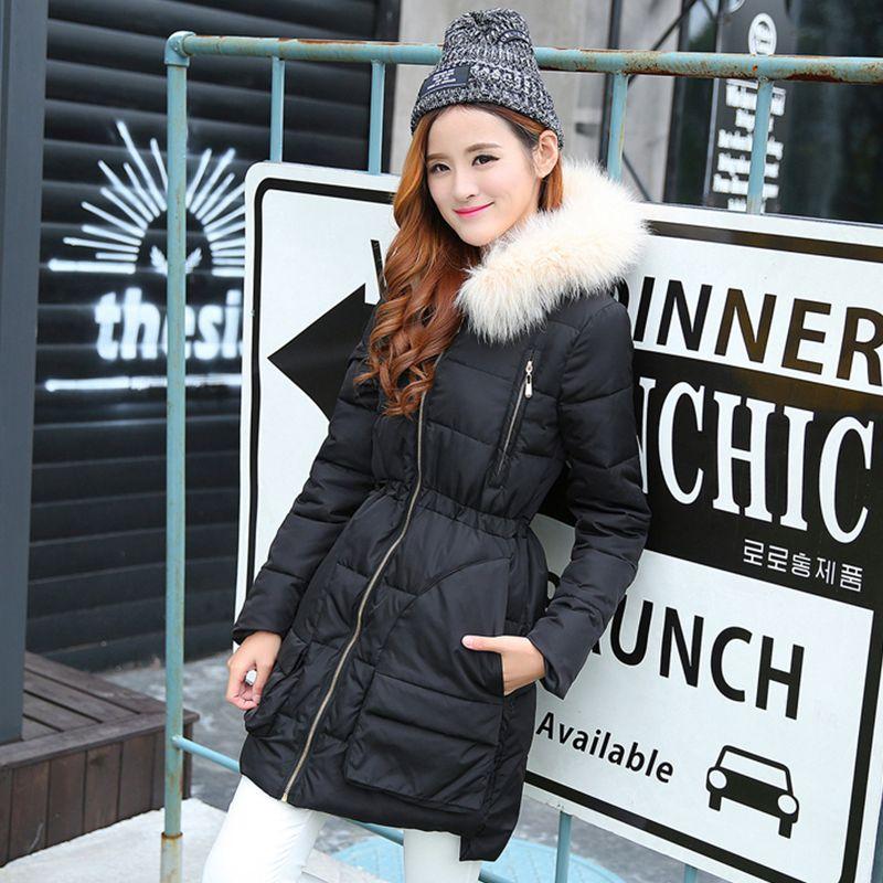 2016 New Winter High Quality Jacket Women Fox Fur Collar Hooded Jacket Slim Medium-Long Coat Snow Thick Warm Parkas Outwear 2016 new mori girl high quality sweep lace fur coat