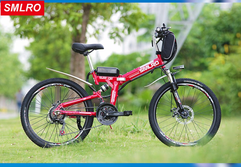 26inch electric mountain bike SMLRO folding electric bicycle 48v lithium battery off-road mountain bike 500W motor drive ebike new 36v 350 watt lithium battery electric snow bike mountain bike shiman0 24 speed electric bicycle black and green road cycling