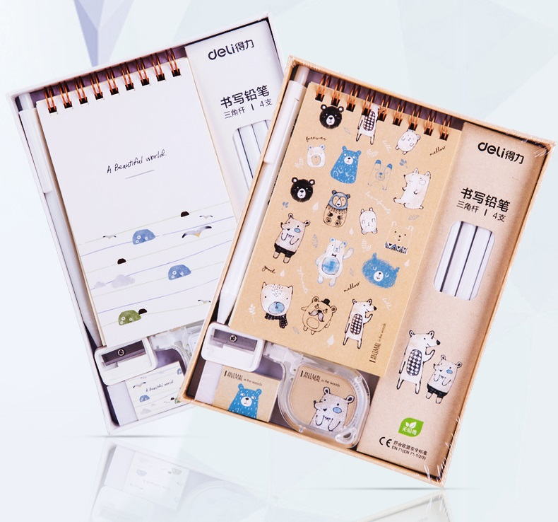 Deli School Stationery Creative Pencil Writing Box Set Escolar Stationary Set Kids School Set Stationeries Set Kids Stationary