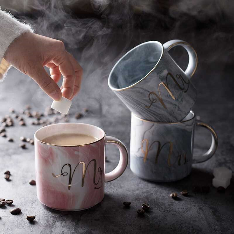 European Gold stamping ceramic mark cup lovers cup breakfast coffee cup and milk tea cup Mr Ms letter Men women marble Mug in Mugs from Home Garden